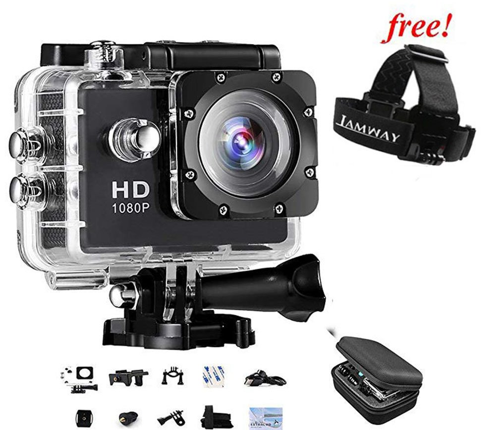 Sports Action Camera IAMWAY Ultra HD 30 Meter 1080P Waterproof DV Camcorde 2.0 inch LCD Screen Sport DV Giveaway Free Of Portablel Case For Earpieces,USB cables,Chargers, Coins etc.