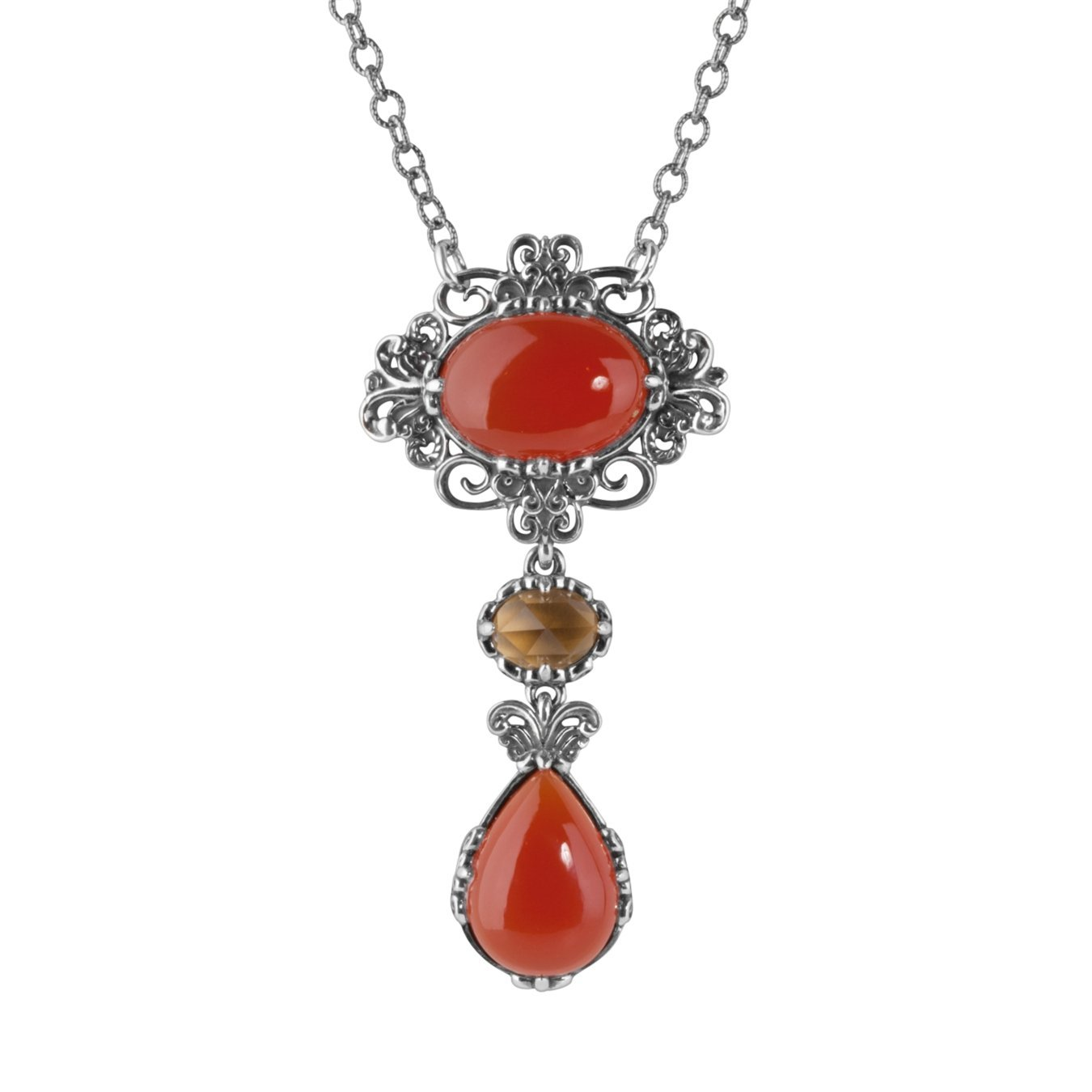 Carolyn Pollack Sterling Silver Carnelian Drop Necklace by Carolyn Pollack