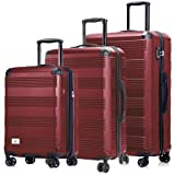 Verdi Luggage Set 3 Piece - Lightweight with USB Port Hardside Carry On Suitcase - Includes Expandable 20 Inch Carry on…