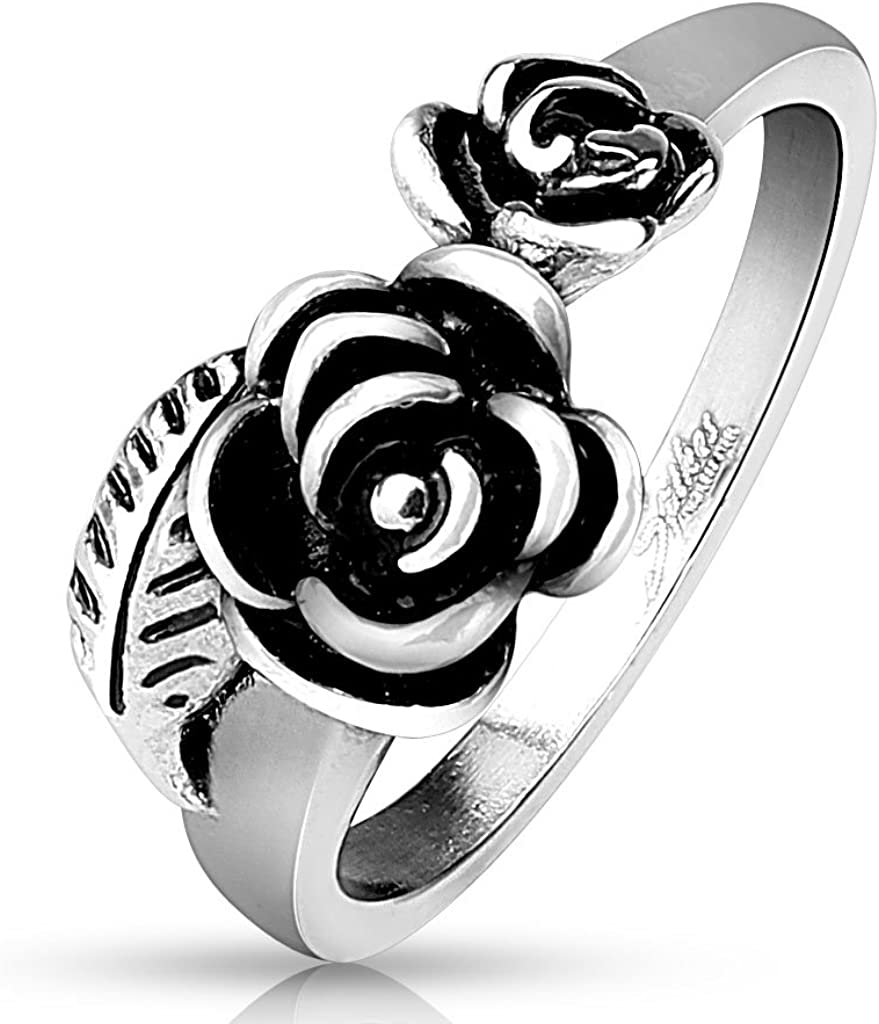 Jinique STR-0463 Stainless Steel Two Roses with Leaf Cast Ring