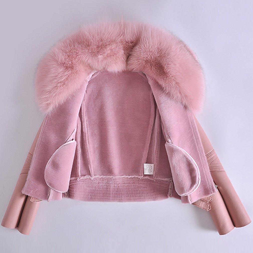fbda705149f6e Fur Story Femme Synthétique Cuir Double Face Veste avec Vraie Fourrure de Renard  Col Longue Manche FR42 (Rose)  Amazon.fr  Vêtements et accessoires
