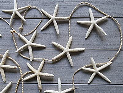 "Tumbler Home - Tropical Starfish Garland - 10 Starfish From 4.5"" to 6"" Suspended From 10' Natural Jute - Beach/Wedding Décor - Perfect Christmas Garland"