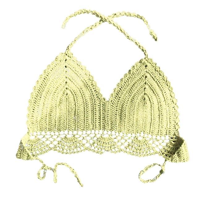 93bec2a3e166 ✿RYTEJFES Bikinis Mujer Escote En V Tirantes Bikini Top Bordadas ...