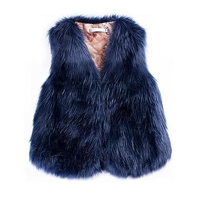 Per Manteau sans Manche Fausse Fourrure Gilet Femme Hiver Veste Fourrure Femme sans Manche Faux Fur Coat Court