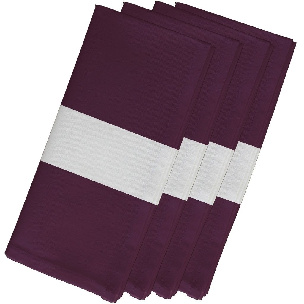 4 Piece Purple Napkin (19''), Contemporary Style, Cotton Material, Stripe Pattern, Decorative Table Top Napkin Type, Horizontal Single Stripes, Suitable For Everyday, Special Occasions, Light Plum by Patriot