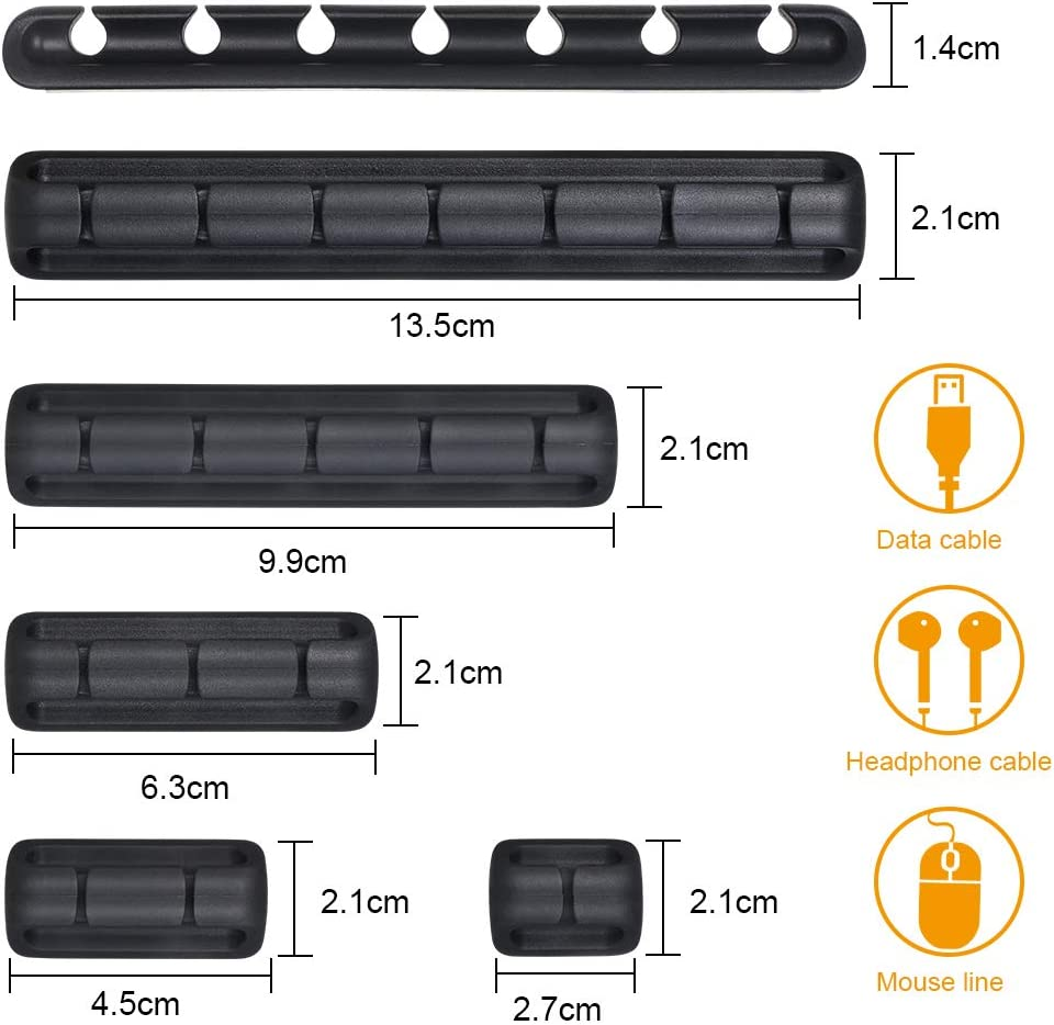 Negro Pared Grapas de Cable con Autoadhesivo Fuerte para Escritorio Autom/óvil URAQT Clips de cables 9pcs Gesti/ón de Cables El/éctricos con caja de PP