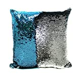Mermaid Decor Cushion Pillow Cover 15.75''×15.75'' Pillowcase, Child DIY Draw and Write , Creative Christmas Gift (Blue+Sliver)