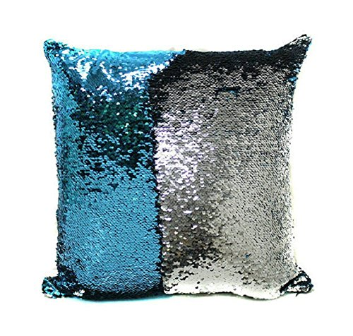 Mermaid Decor Cushion Pillow Cover 15.75''×15.75'' Pillowcase, Child DIY Draw and Write , Creative Christmas Gift (Blue+Sliver) Gifts For Kids