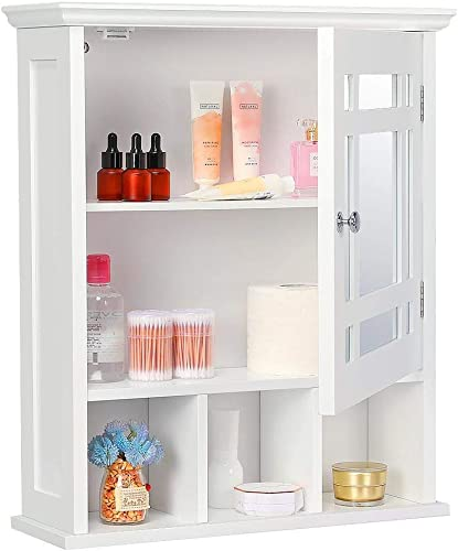 Bathroom Wall Storage Cabinet With Single Mirror Door And Adjustable Shelf White Renewed