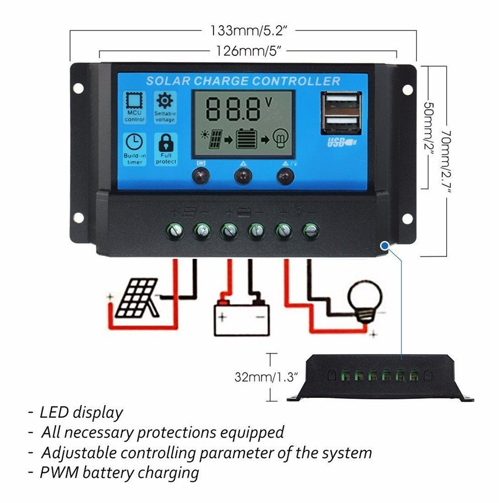 Powmr 40a Solar Charge Controller Panel Battery Charger Circuit Besides Mppt 12v 24v Dual Usb Adjustable Parameter Lcd Display And Timer Setting On Off