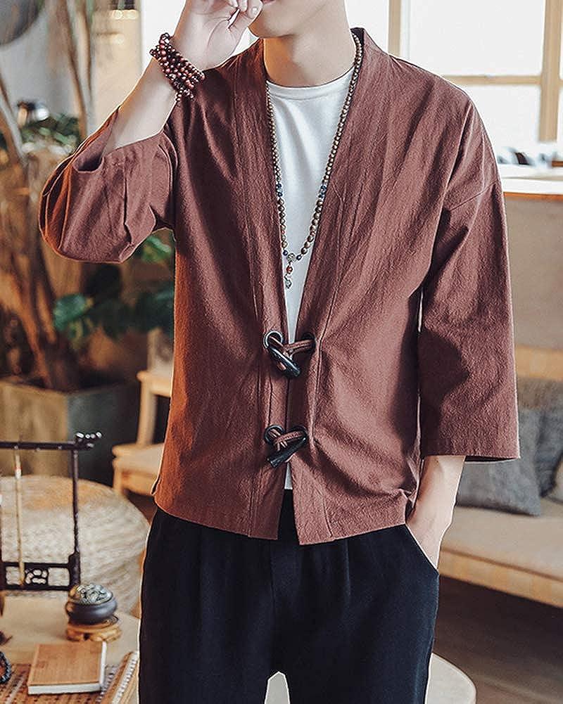 DianShaoA Giacca Kimono da Uomo Maniche A 3//4 Casual Vintage Cappotto di Lino
