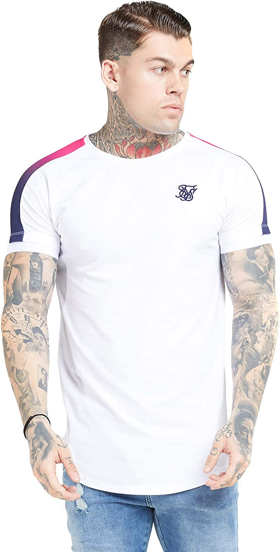 Camiseta Siksilk s/s Inset Cuff Fade Panel Blanco Hombre