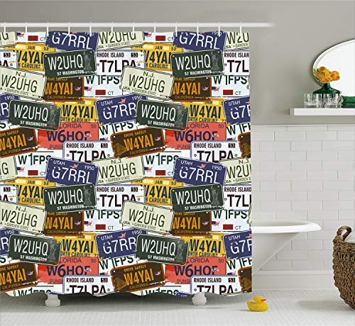Ambesonne USA Shower Curtain, Retro American Auto License Plates Utah Washington Rhode Island North Carolina Print, Fabric Bathroom Decor Set with Hooks, 70 Inches, Multicolor