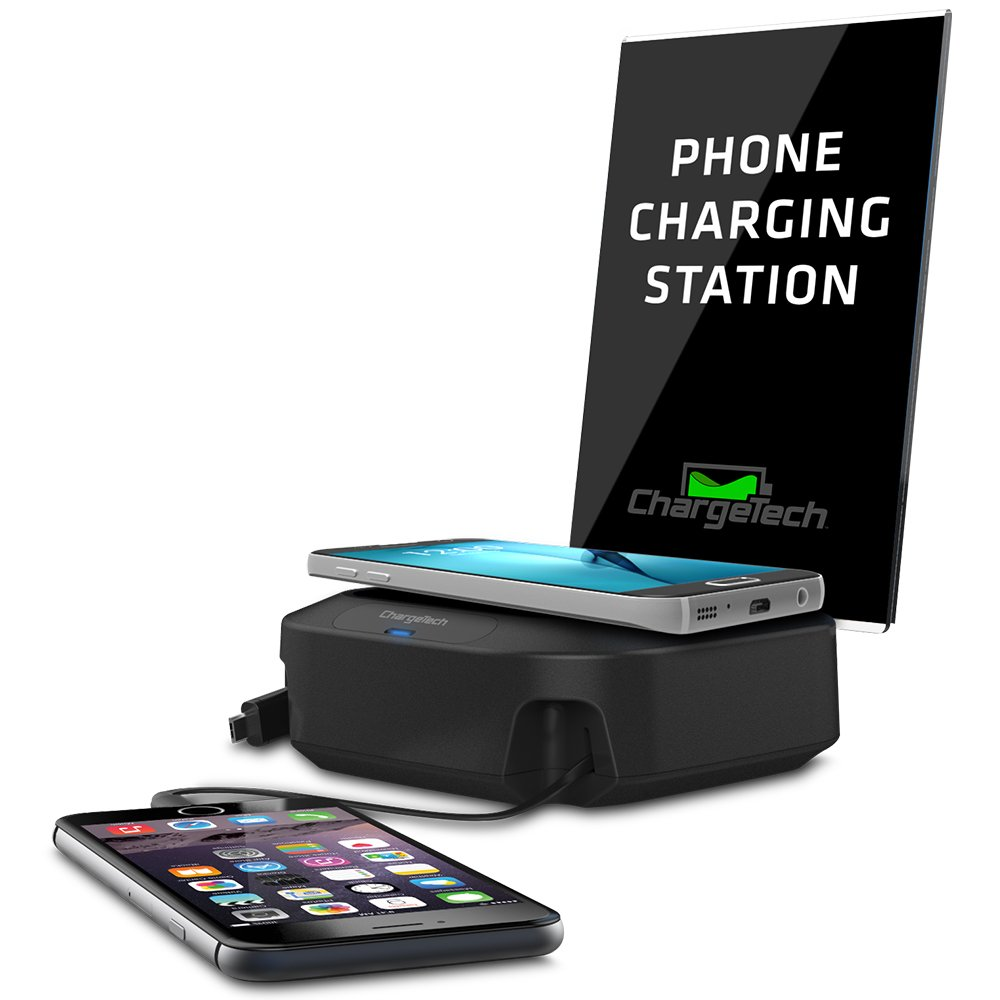 ChargeTech - Charging Hub Station w/ Wireless Qi Pad & 2 Charging Tips Included for Multiple Devices: iPhone, iPad, Samsung Galaxy, Tab - Wireless & Fast Charge Rapid Charging (Model: CHW2) (Black)