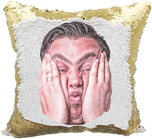 Picture Sequin Pillow, Prank Sequins Pillow, Personalized Reversible Sequin Pillow Gold White