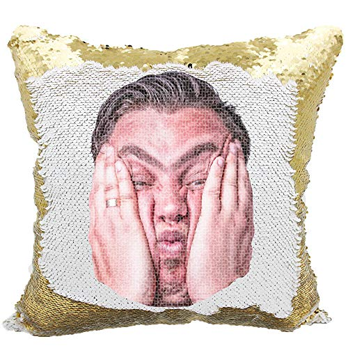 (Picture Sequin Pillow, Prank Sequins Pillow, Personalized Reversible Sequin Pillow (Gold/White))