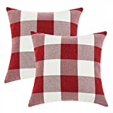 Anickal Set of 2 Farmhouse Decorative Throw Pillow Covers Buffalo Check Red and White Pillow Covers 20 x 20