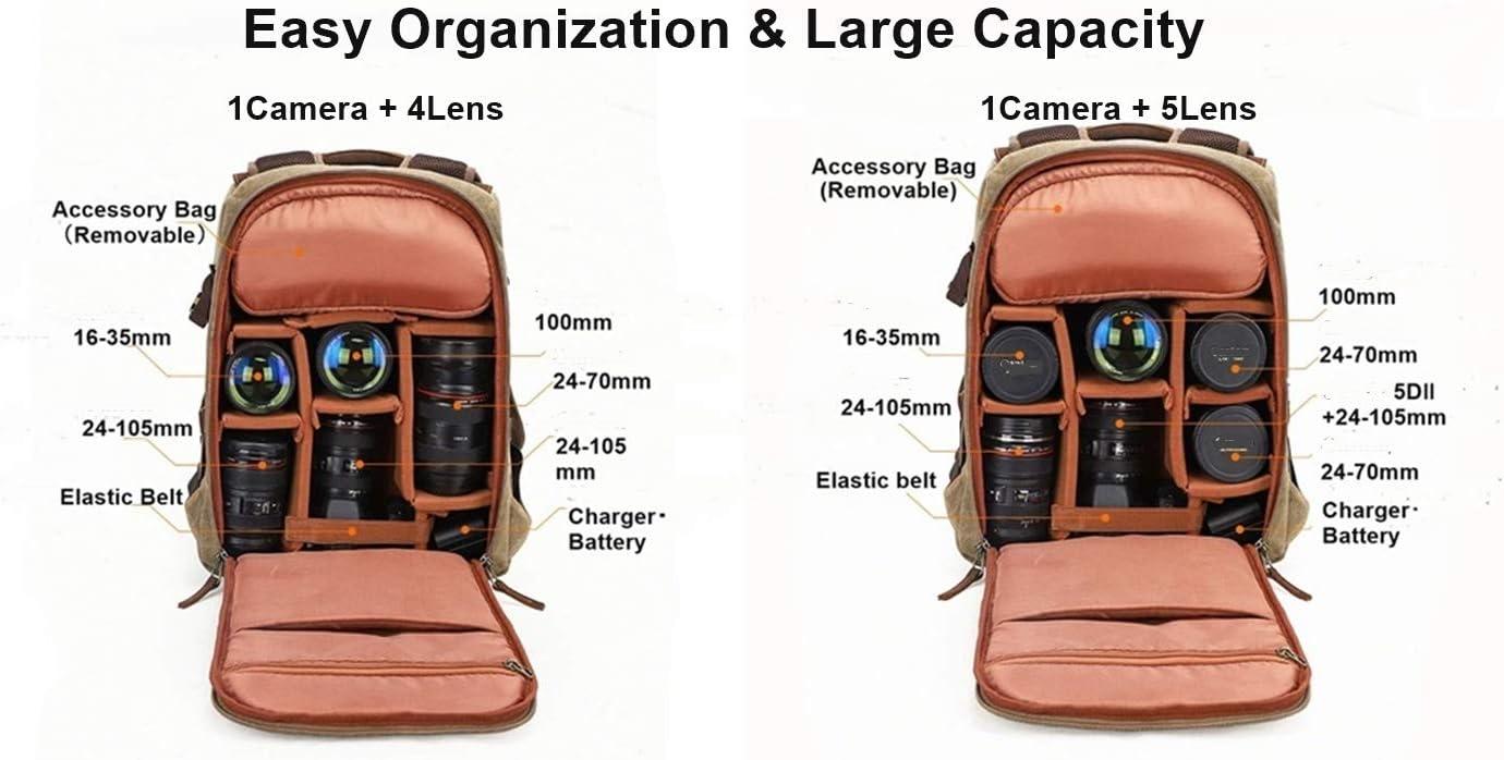 T.D.Well Camera Backpack Bag Leather Canvas Vintage Waterproof Professional SLR DSLR Laptop Tripod Holder Lens Large Capacity Durable Genuine Leather for Women Men Photographers Dark Grey