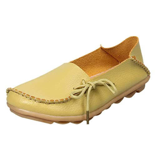 fereshte Womens Leather Moccasins Flats Casual Driving Loafers Shoes Apple Green #1 ...
