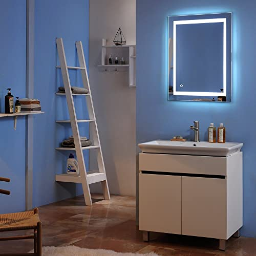 Azadx LED Bathroom Mirror, Lighted Vanity Mirror Wall Mount Vertical or Horizontal Installation Square Makeup Mirror with Built-in Light Strip Touch, Silver 36 x 28