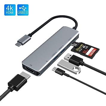 Rayrow Hub USB C, Adaptador Hub 6 en 1 Tipo C con 4K HDMI, 2 Puertos USB 3.0, Lector de Tarjetas TF/SD, Puerto de Suministro de energía Compatible con ...