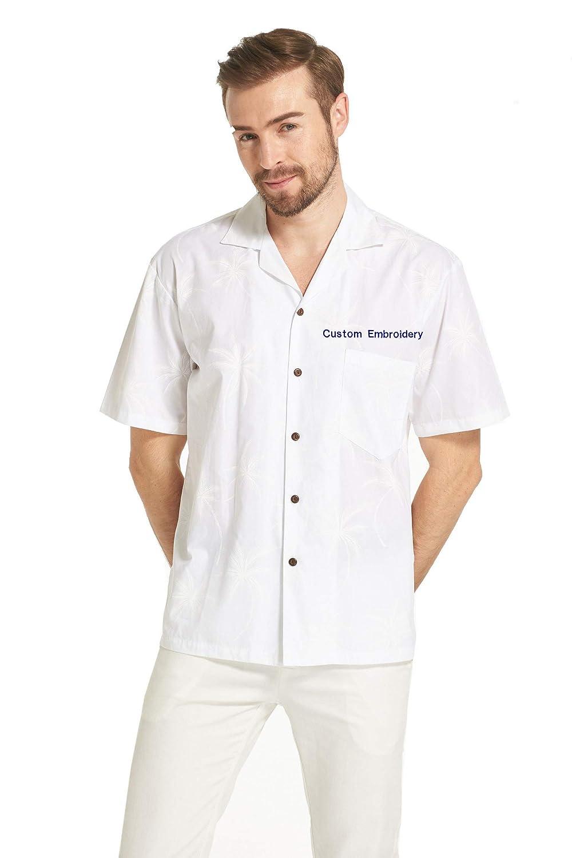 Made in Hawaii Mens Hawaiian Shirt Aloha Shirt Light Palms in Print Solid