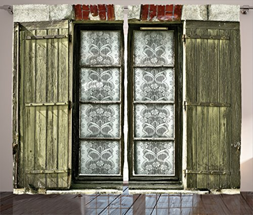 Ambesonne Shutters Decor Collection, European French Window with Antique Open Shutter Print Vintage Style Home Decor, Living Room Bedroom Curtain 2 Panels Set, 108 X 84 Inches, Brown ()