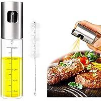 Eletorot Oil Sprayer Dispenser,Vinegar Sprayer,Dressing Spray with Brush Portable,Grilling Olive Oil Glass Bottle 100ml,Premium 304 Stainless Steel,for Kitchen,Cooking,Salad,Bread Baking,BBQ(1 Pack)