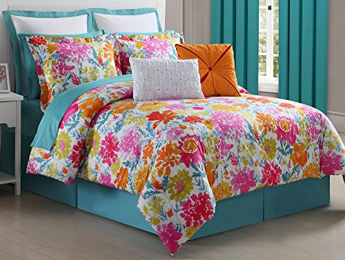 Fiesta 4 Piece Biscay Bed Skirt and & 2 Pillow Shams, King Comforter Set,