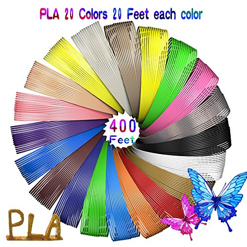 3D Pen Filament Refills, 1.75mm PLA 3D Printing Pen Filament 20 Colors, 20 Feet Each, Total 400 Feet, with 100 Stencils E-Books for Kids Drawing