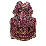 Womens Maxi Caftan Red Paisley Printed Soft Crepe Kaftan Boho Dresses Onesize