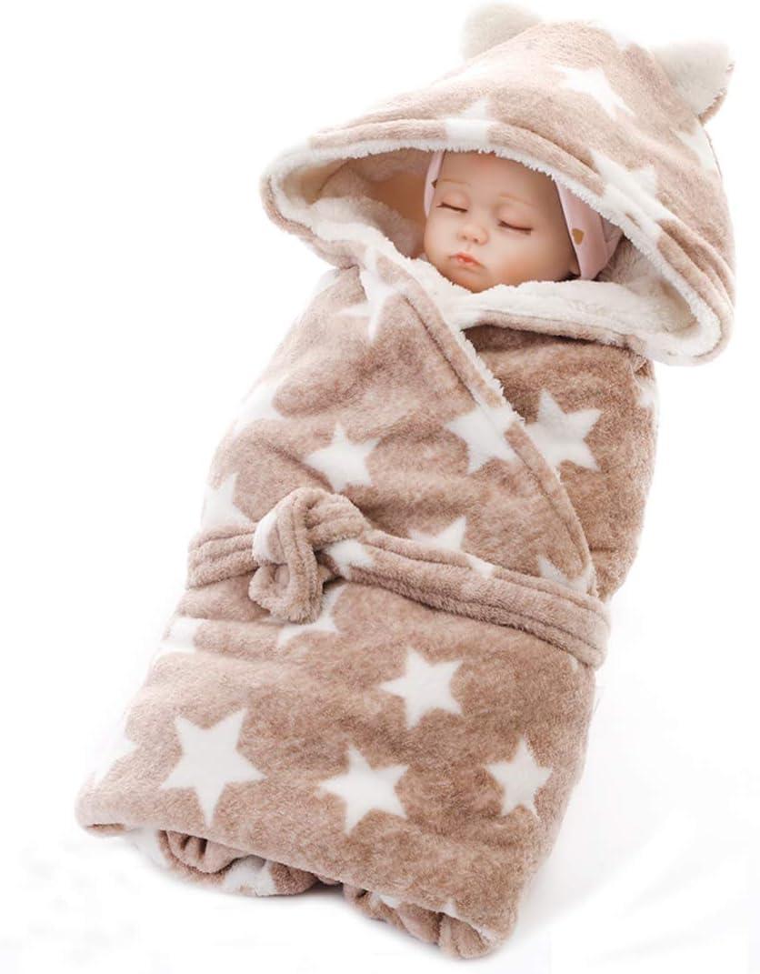 Manta con capucha para bebé, manta de invierno cálida para cochecito de bebé, toalla de franela de felpa de pelo sintético, albornoz de invierno al aire libre, viajes, bebés y niñas de 0 a 12 m