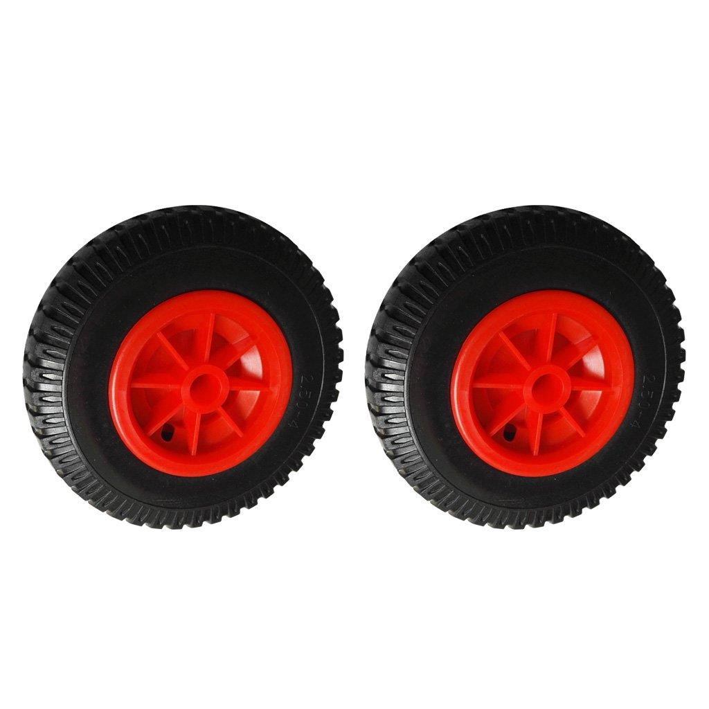 MagiDeal 2個25.4cm 22.35mmカヤックカヌートロリー/キャリア/ジョッキーのための赤いホイールにスペアパンク防止ブラックタイヤ   B071FS1ZSB