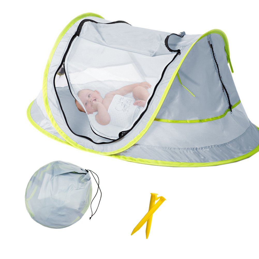 Aiernuo Baby Beach Tent Portable Baby Travel Bed UPF 50+ Sun Shelters for Infant Pop Up Mosquito Net with 2 Pegs Sunshade Ultralight Weight B06XKNQK32 1278