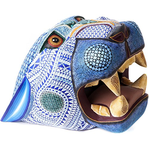 11' Sculpture - 11'' Mascara Jaguar Balam Jade Woodcarving Alebrije Sculpture Mexican Folk Art