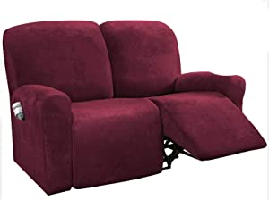 SHAFAJNC Stretch Recliner Slipcover, High Elastic Sofa Cover Jacquard Sofa Slipcover for Reclining Sofa Furniture Protector for 1 2 3 Cushion Couch -red-Loveseat 150-200cm