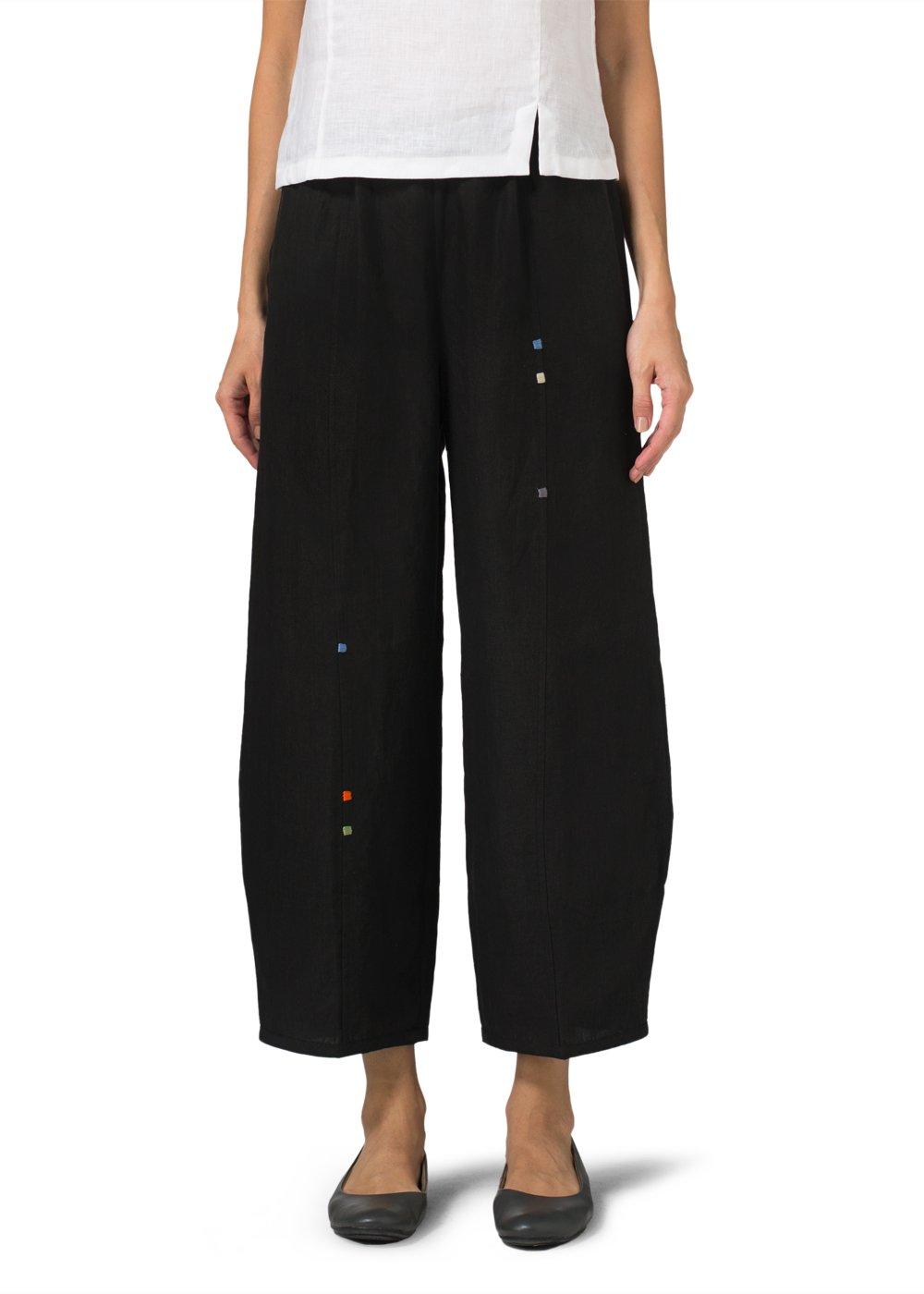 Vivid Linen Embroidered Crop Pants-2X-Black