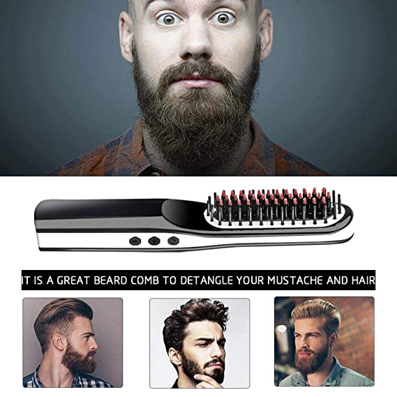 Beard Straightener, lesgos New USB Rechargeable Inalámbrico ...