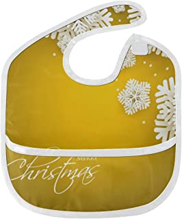 Golden Snowflake In Winter Party Custom Soft Waterproof Washable Stain And Odor Resistant Baby Feeding Dribble Drool Bibs Burp Cloths For Infant Overall For 6-24 Months Kids Gifts