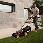 """WORX WG779 40V Power Share 4.0 Ah 14"""" Lawn Mower w/ Mulching & Intellicut (2x20V Batteries) 12 Dual 20V Power Share batteries deliver 40V of Maximum Power and Performance Patented intellicut technology delivers Power on demand save Your battery for when you Really need it Foam padded handles provides a comfortable grip for reduced fatigue while cutting"""