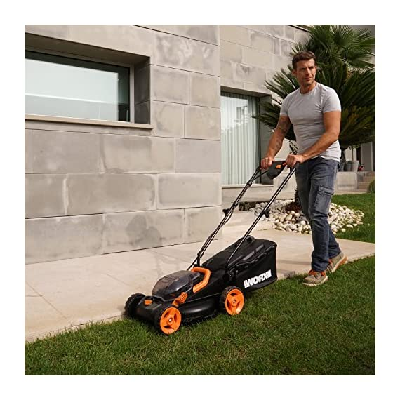 """WORX WG779 40V Power Share 4.0 Ah 14"""" Lawn Mower w/ Mulching & Intellicut (2x20V Batteries) 3 Dual 20V Power Share batteries deliver 40V of Maximum Power and Performance Patented intellicut technology delivers Power on demand save Your battery for when you Really need it Foam padded handles provides a comfortable grip for reduced fatigue while cutting"""