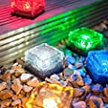 Worldoor® Solar Color Changing Ice Rocks - Path and garden solar lights,Solar Power LED Ground Crystal Glass Ice Brick Shape White Outdoor Yard Garden Deck Road Path Lamp Light