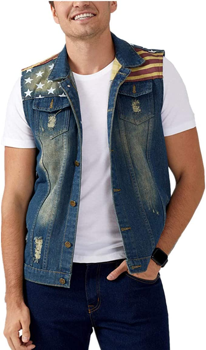factory outlets wholesale dealer factory price DOHAOOE Men's Sleeveless Jacket Button Down Casual Lapel Denim ...