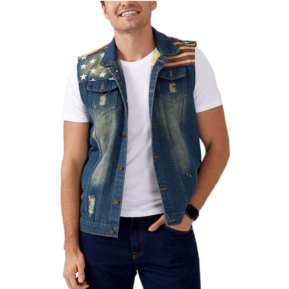 DOHAOOE Men's Sleeveless Jacket Button Down Casual Lapel Denim Vest Ripped Hole Plus Size (American Flag, XL- Tag 4XL Bust 43) by DOHAOOE