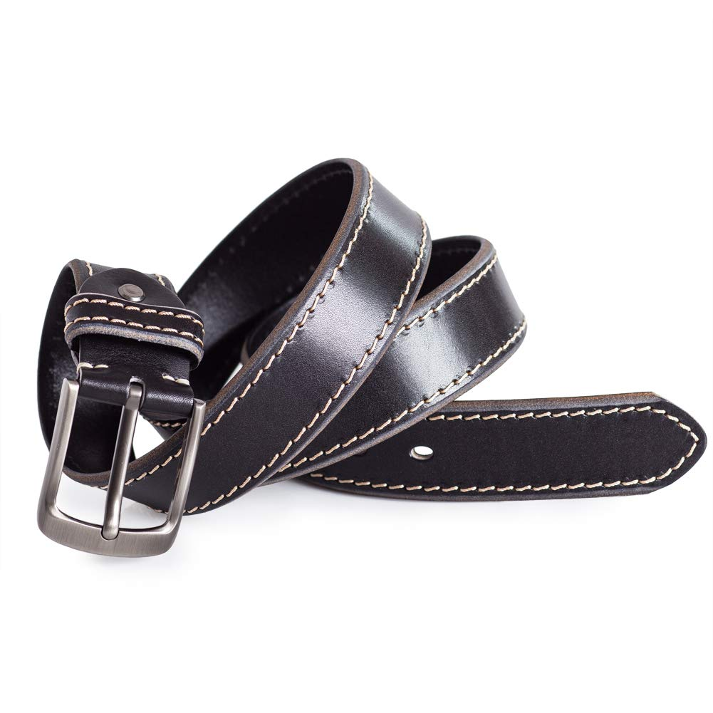 Mens Black Jeans Belt Calfskin Leather White Stitching Detail Silve Buckle 1.5in Width