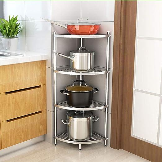WLHW Fruteros Tipo de Piso de la estantería, 304 Acero Inoxidable Triángulo de Cocina de múltiples Capas Estante de la Olla de Almacenamiento de Esquina 4 Piso: Amazon.es: Hogar