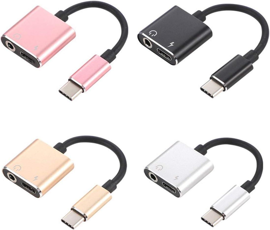 Sylvialuca Adaptador de Cable USB C a Jack 3.5 Tipo C Adaptador de Cable de Carga 2 en 1 USB Tipo C 3.5mm Audio Auricular Convertidor de Cable