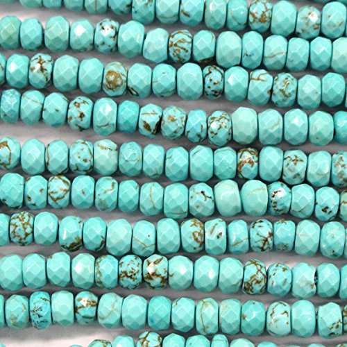 Natural Blue Turquoise Rondelle Gemstones Loose Beads Findings Jewerlry Making (faceted ()