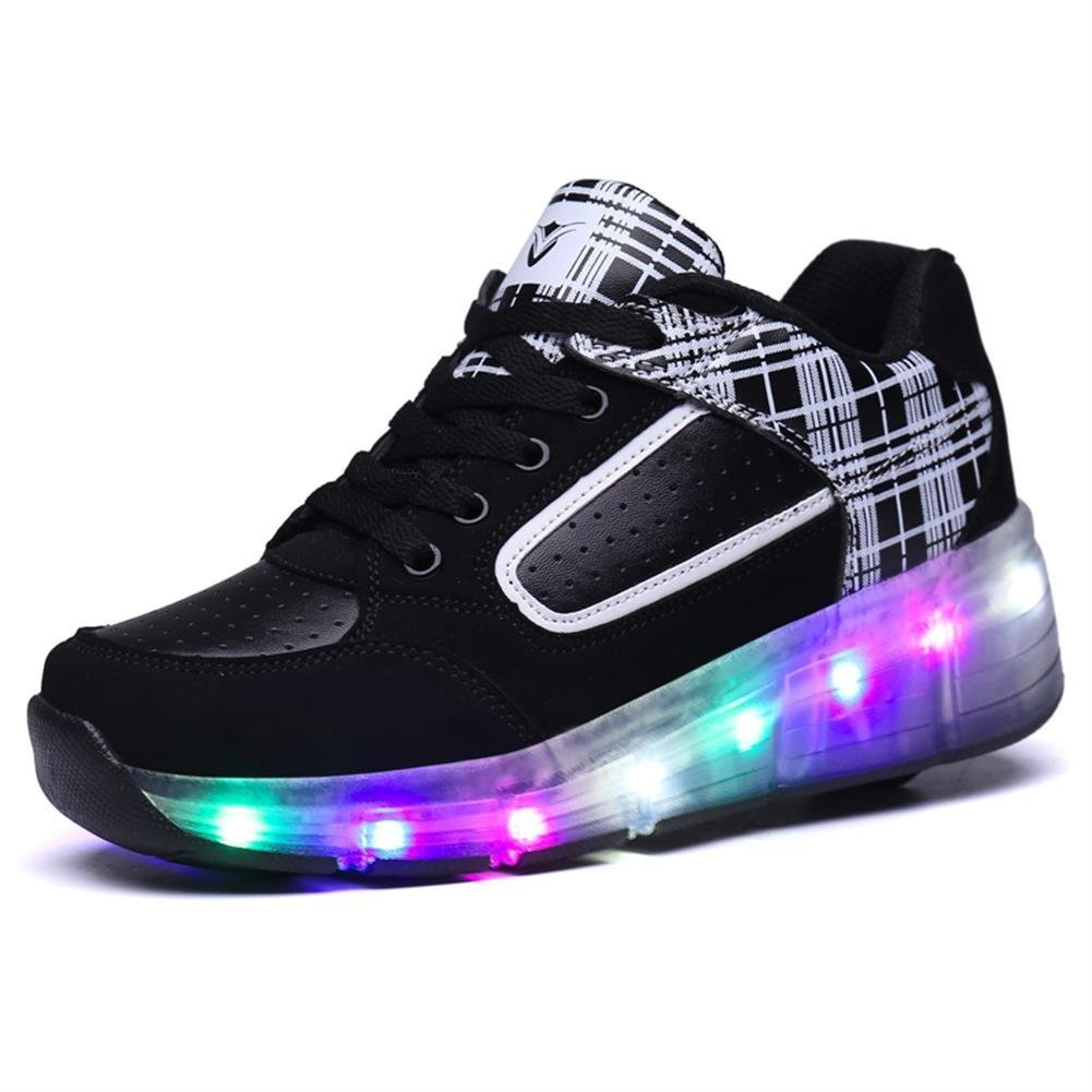 LED Light Up Roller Skate Shoes Single Wheel Outdoor Boy Girl'sChristmas Halloween Giftwith Wings(Black 2.5 M US Little Kid)