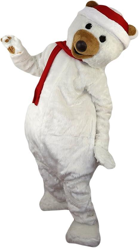 cartoon mascot Disfraz de Oso Polar de Navidad con Dibujos ...
